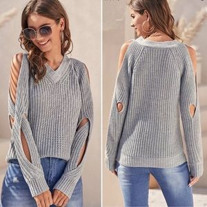 Sweaters - New! Host pick! Cold shoulder cloudy grey chunky